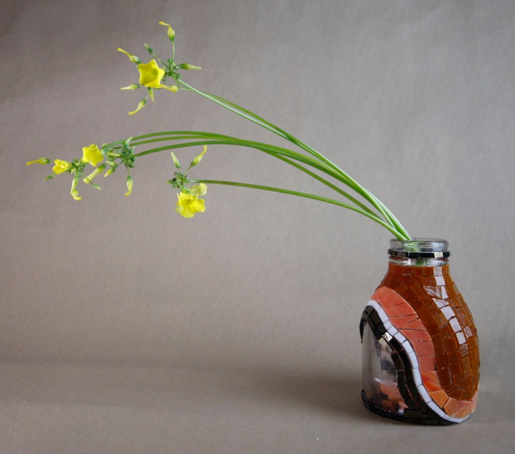 work in progress...unfinished cream bottle vase