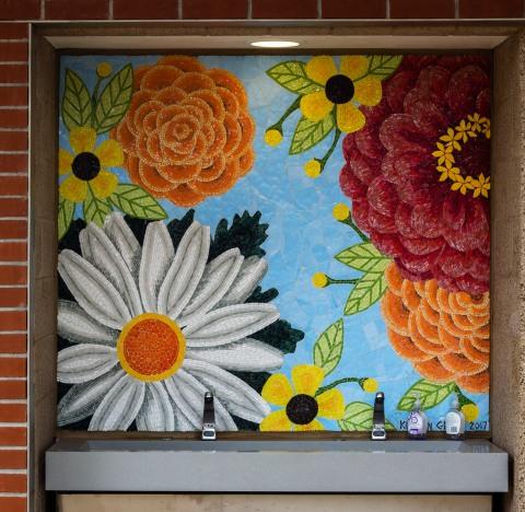 MOSAIC OF FLOWERS: ZINNIA, 2017, CORONADO CA